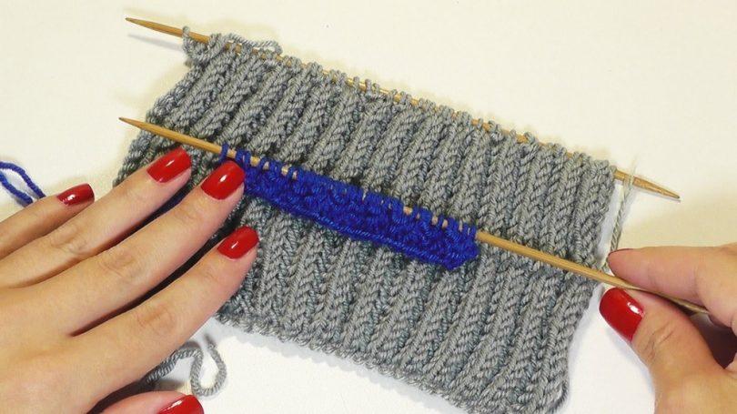 Итальянская резинка спицами: схема вязания