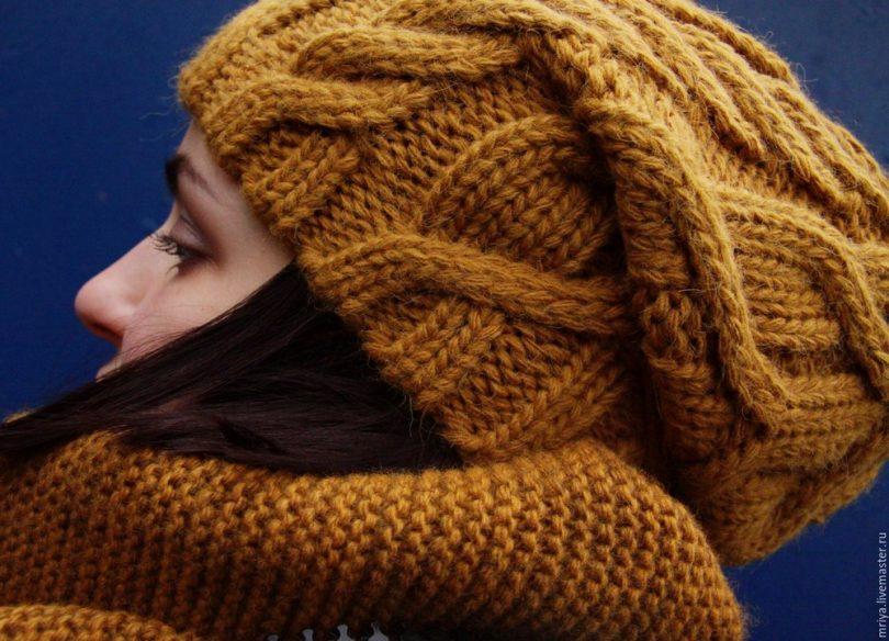 Шапка косами спицами: схема и описание вязания