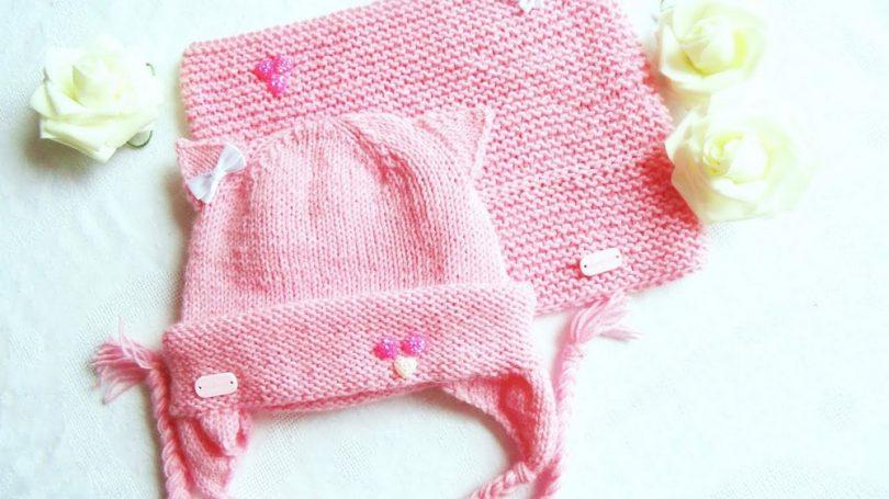 Вязание детской шапочки для девочки спицами