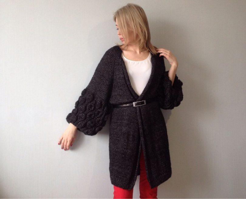 Вязание кардигана спицами для женщин со схемами и описанием – одно удовольствие!