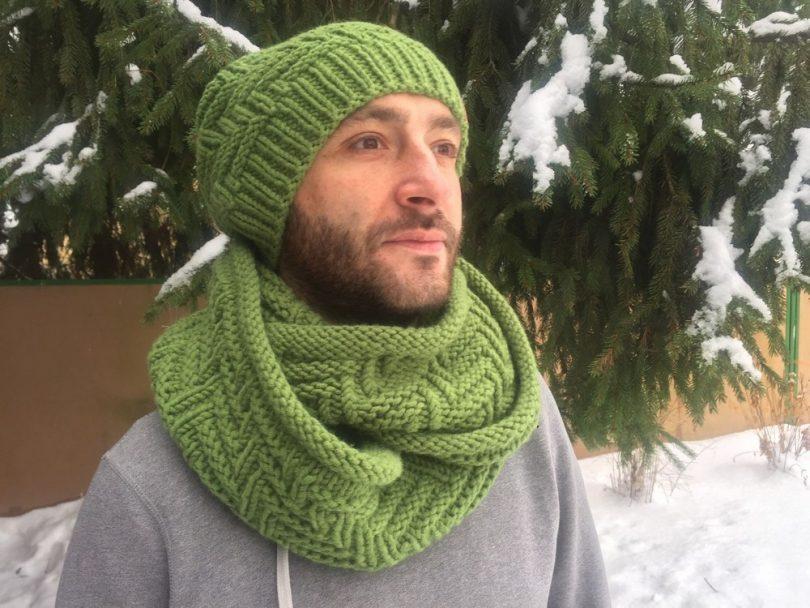 вязание мужской шапки спицами схемы с описанием и фото