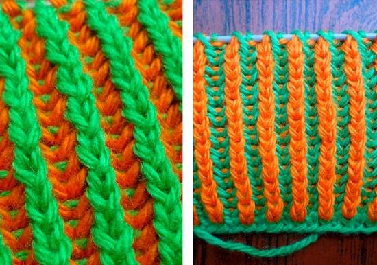 детский шарф, связанный английской резинкой