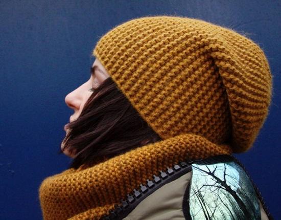 Шапка бини спицами: поперечное вязание