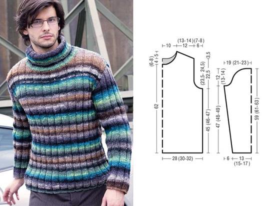 Мужской свитер спицами: схемы с описаниями