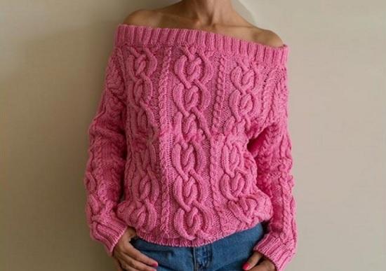 свитера рубан со схемой вязания спицами
