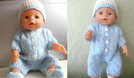 вязание спицами для кукол Беби Бон