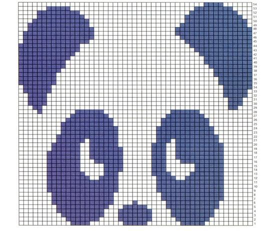 С 21 начинайте вязать панду (по схеме)