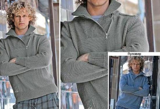 Вязание пуловера для мужчин спицами, схема и описание