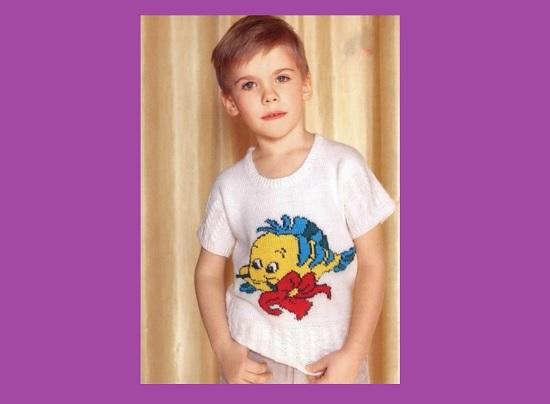 модная летняя кофта для мальчика, связанная спицами