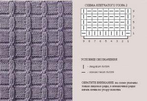 клеточный узор спицами для мужского свитера