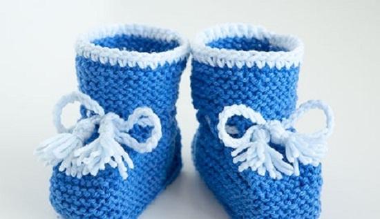 Вязание детских пинеток спицами для самых маленьких