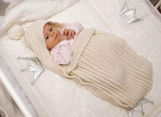 как связать конверт для новорожденных спицами для начинающих