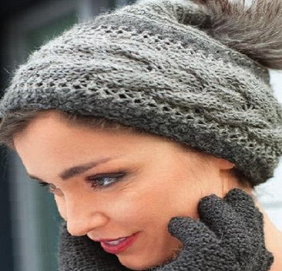 вязание шапки с поперечной косой спицами