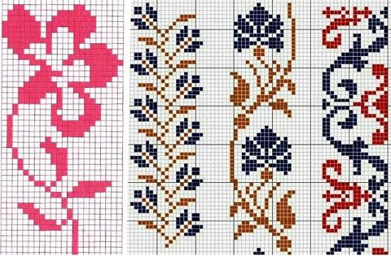 цветочные орнаменты для вязания спицами