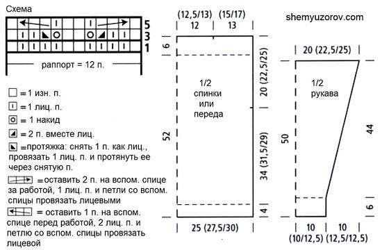 схемой вязания ажурного рисунка