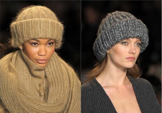 Три шапки из толстой пряжи по одной схеме