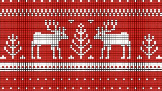Вязание спицами орнаментов оленей
