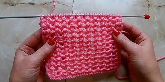 Ажурный узор для шарфа спицами