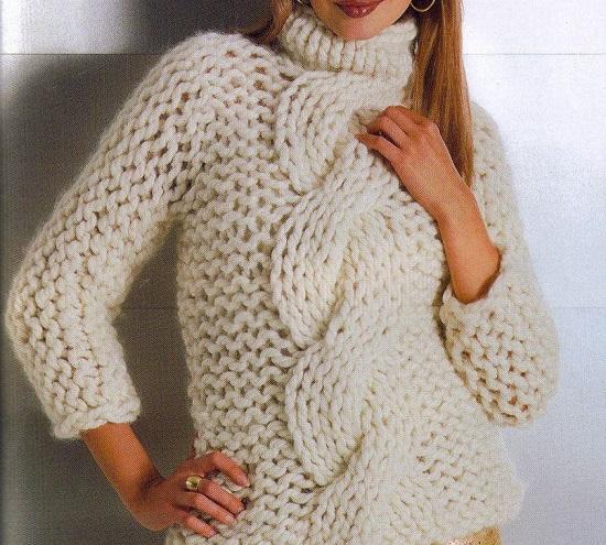 свитер с объемной косой спицами