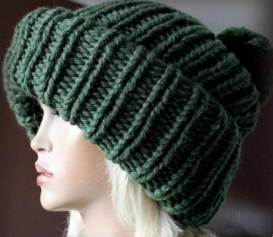 вариации на тему объемной шапки спицами