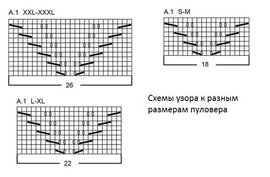 Третий ряд вяжите так: 17 лиц., 3 изн., узор А1