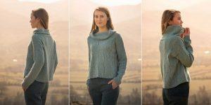 Вязание женского модного свитера спицами с воротником хомут