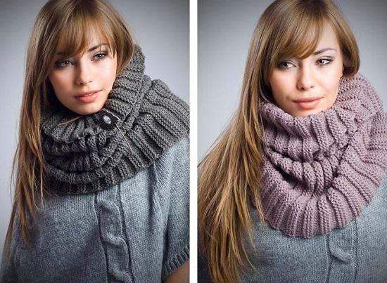 Вязание шарфа-хомута спицами
