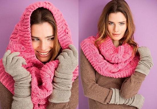 Многофункциональный объемный шарф-хомут спицами