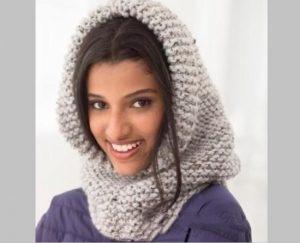 шарф-капюшон спицами для начинающих