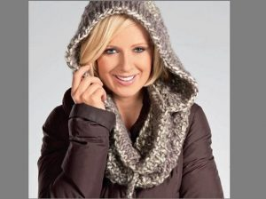 шарф-снуд с капюшоном спицами