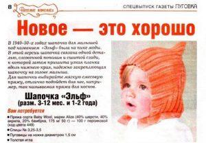 Как вяжется шапочка Эльф спицами для новорожденных?