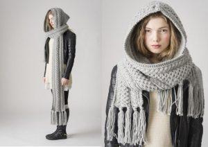 шарф-капюшон спицами для женщин