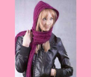модный шарф-капюшон, связанный спицами своими руками