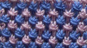 Двухцветные узоры спицами Звездочки